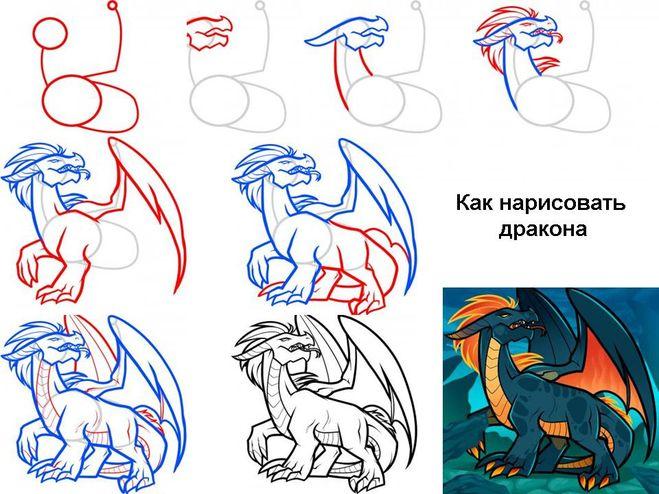Как нарисовать легкого дракона карандашом поэтапно