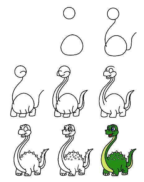 Поэтапное рисование динозавра