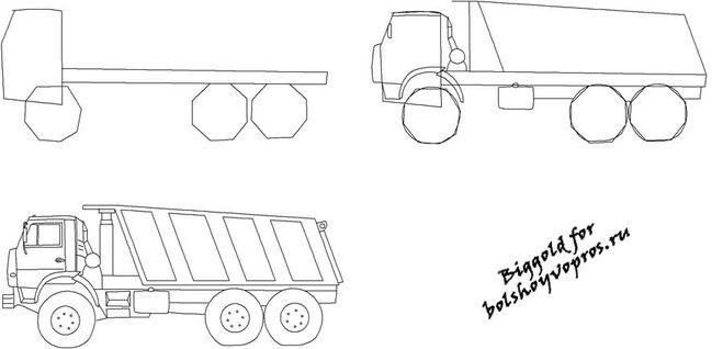 Как рисовать машины камаз