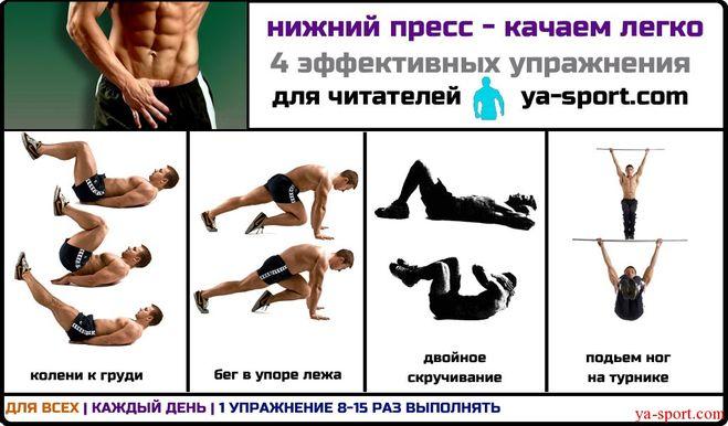 Упражнения на нижнею часть пресса в домашних
