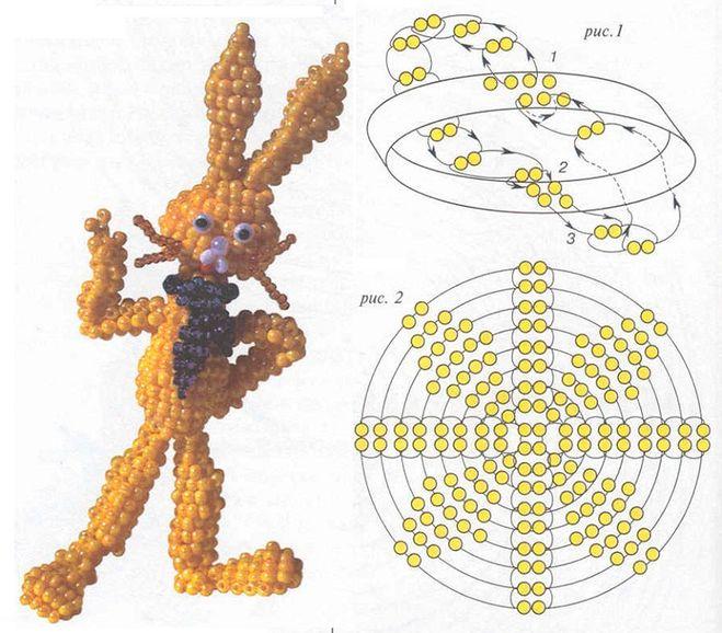 Как сделать заяц из бисера