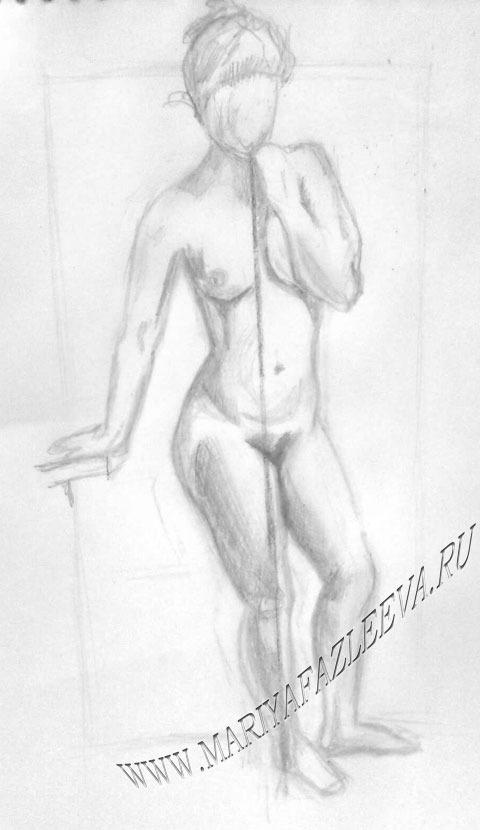 Рисунок карандашом голых девушек люди