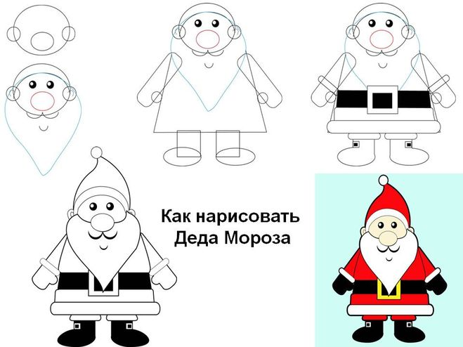 Нарисовать дед мороза своими руками