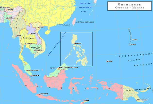 Где находится на карте филиппины