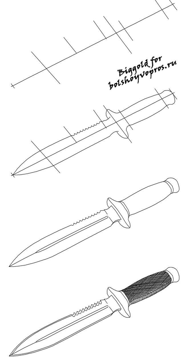 Научится рисовать ножи