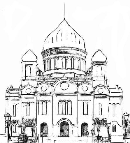 Церковь рисунок карандашом для начинающих поэтапно 54