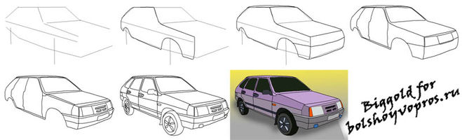Как научится новичку нарисовать машину ваз 2101