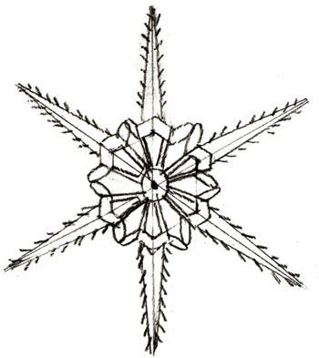 Нарисовать снежинку карандашом