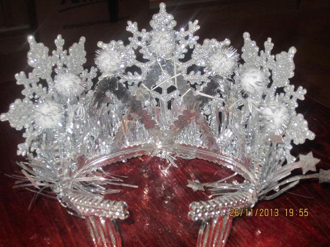 Корона для снежинки из мишуры своими руками