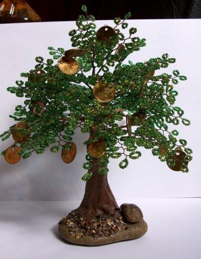 Как сделать денежное дерево из бисера?