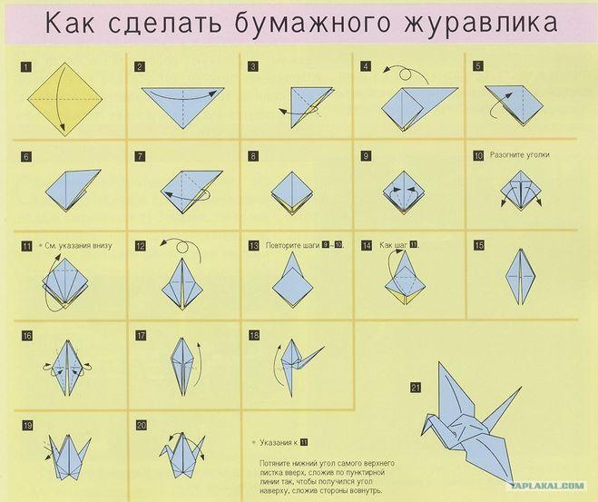 Как сделать журавлика из бумаги своими руками поэтапно