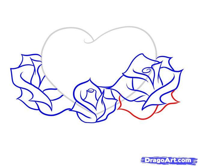 рисовки сердца с розами.