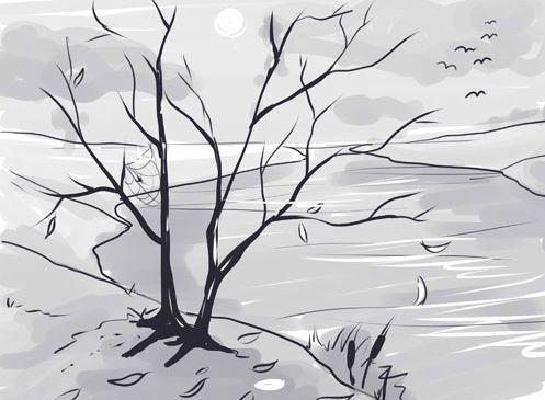 Нарисовать осенний пейзаж поэтапно