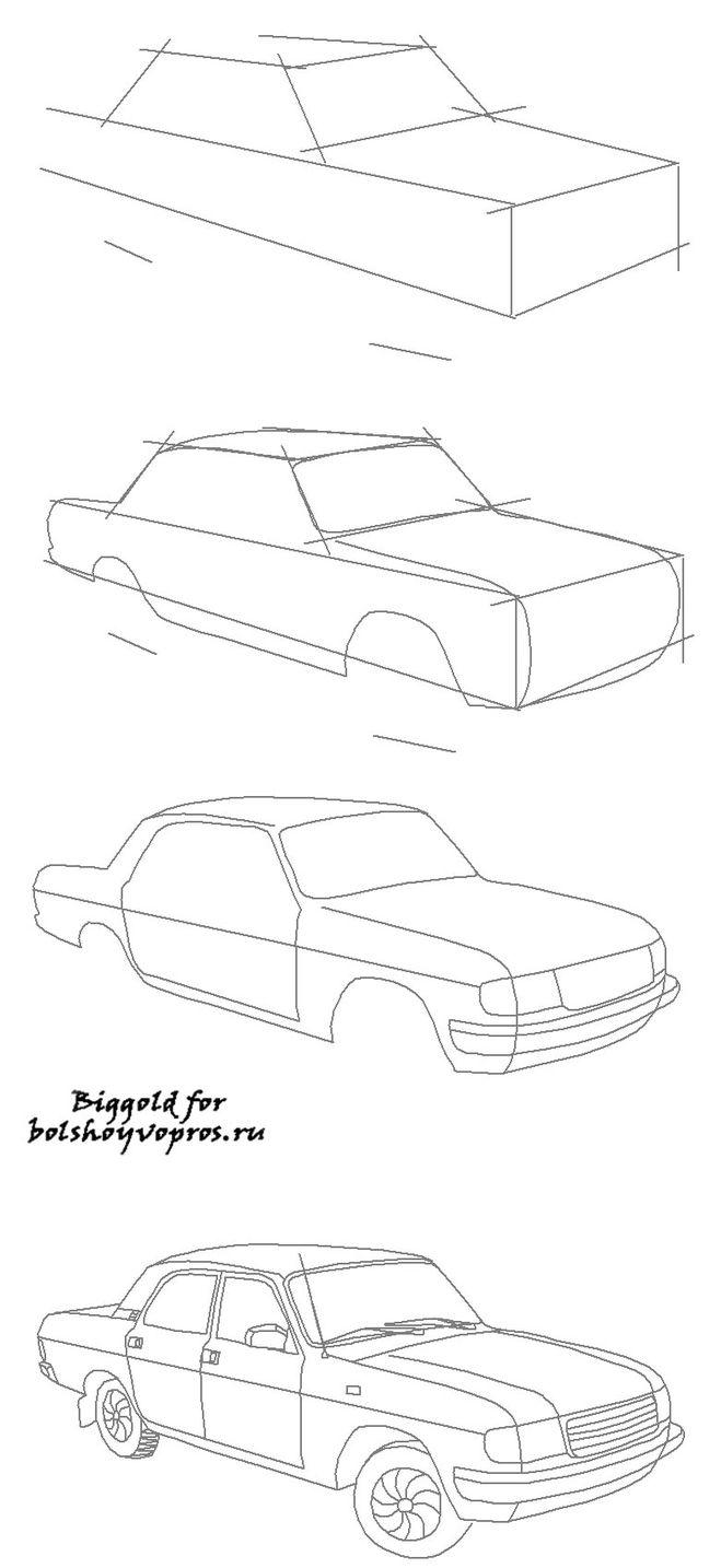 Как нарисовать карандашом поэтапно газ
