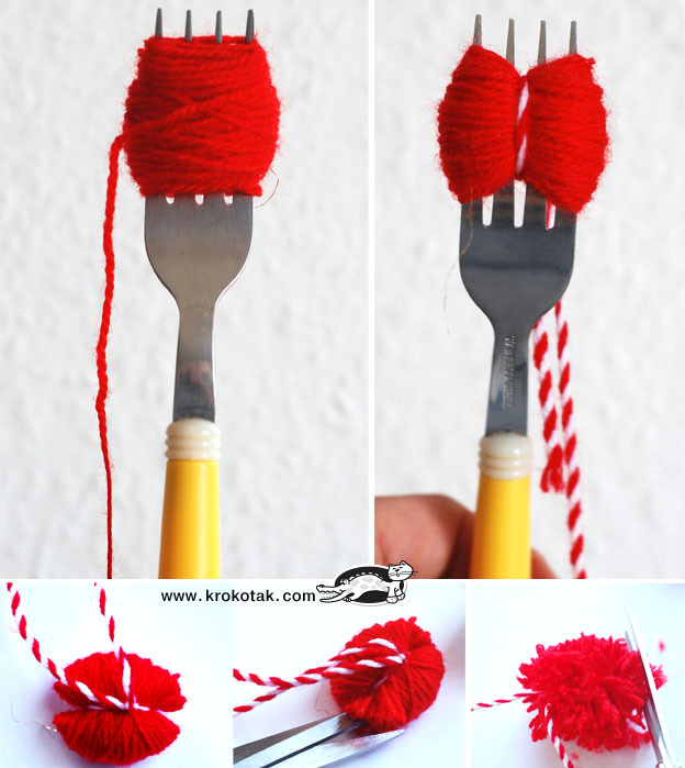 Как сделать помпон на вилке своими руками