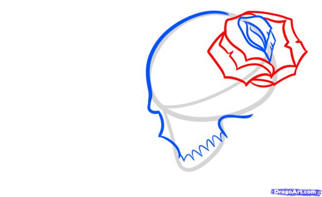 Как нарисовать тату череп карандашом