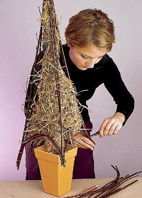 Как сделать елку из прутьев