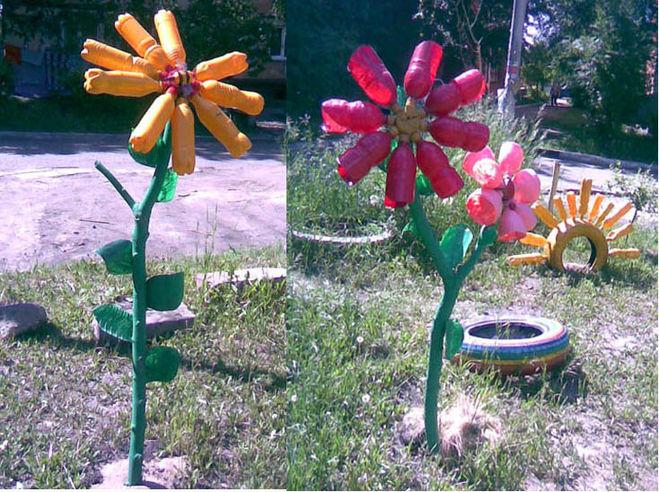 Поделки в саду своими руками из пластиковых бутылок фото