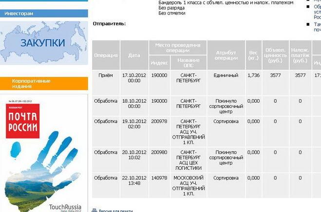 Экспресс доставка почты из Москвы в СанктПетербург