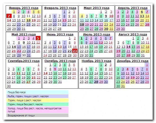 православный календарь с постами