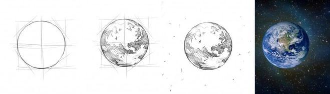 планета земля рисунок цветными карандашами