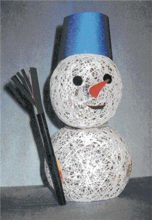 Снеговик из ниток своими руками как делать