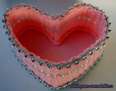 Шкатулка сердце из ниток