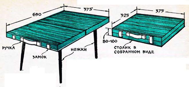 Простейший раскладной стол своими руками 57