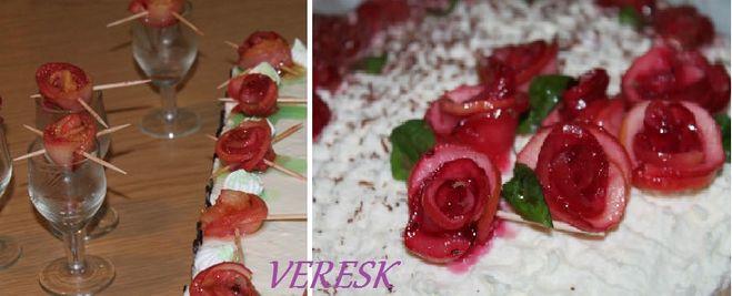 Розочки из яблок для украшения торта