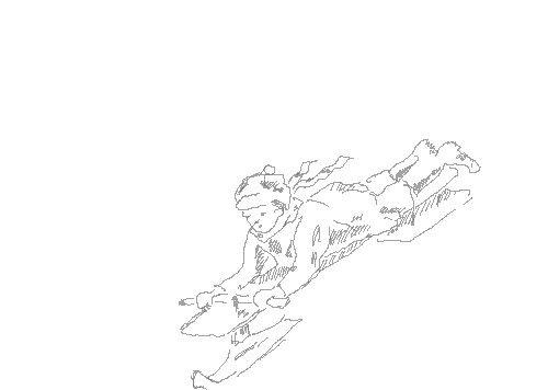 нарисовать ребенка на санках карандашом