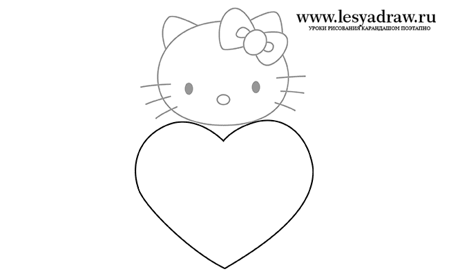 Как нарисовать Китти с сердечком карандашом поэтапно?