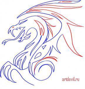 Как нарисовать тату дракон поэтапно