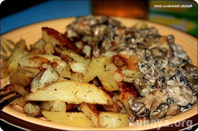 Жареные грибы в сметане рецепт с фото пошагово