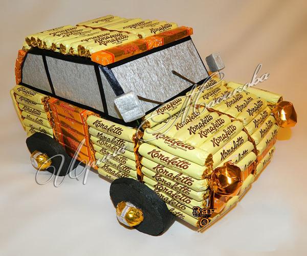 Букет из конфет своими руками машинка