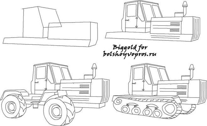 Как нарисовать трактор карандашом поэтапно для начинающих