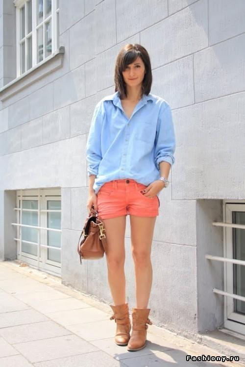 Стиль шорты и рубашка женская
