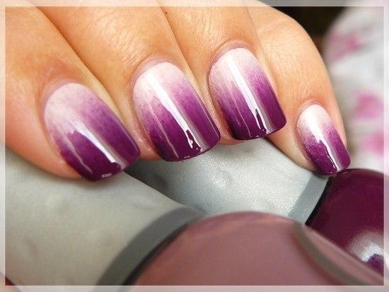Гель лак с переходом цвета на короткие ногти