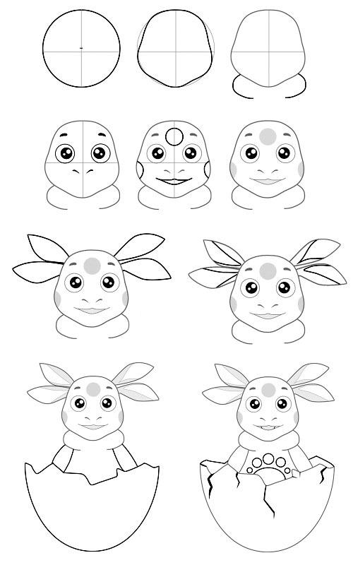 Как нарисовать лунтика и его друзья поэтапно