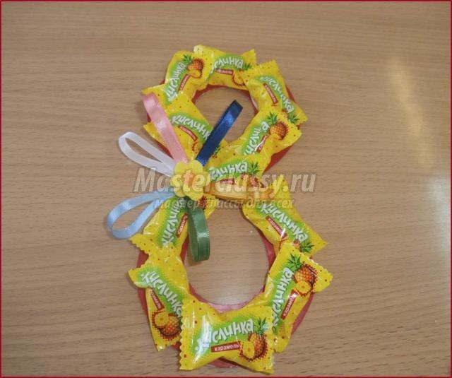 Открытка своими руками из конфет