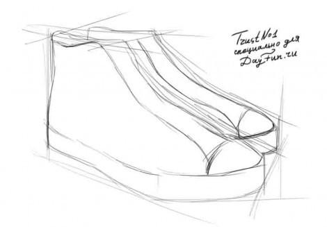 Как нарисовать кеды карандашом поэтапно | - Lessdraw