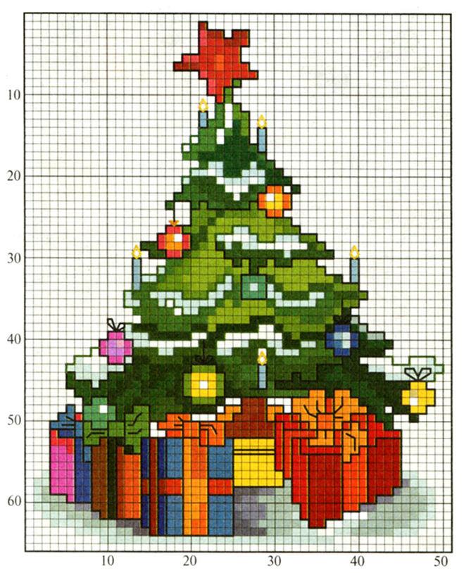 Схема вышивки новогодней елки фото 535