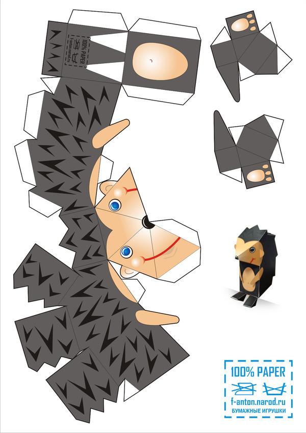 Объемный ежик из бумаги