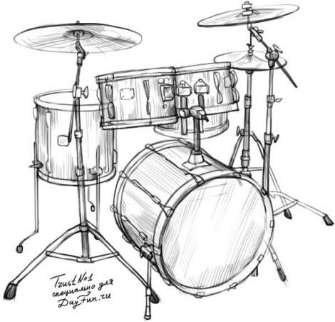 Как нарисовать барабан карандашом поэтапно