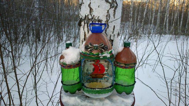 Кормушки из пластиковых бутылок своими руками 5 литров мастер класс 78