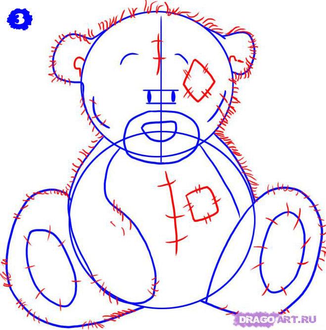 Как нарисовать мишку Тедди карандашом поэтапно?