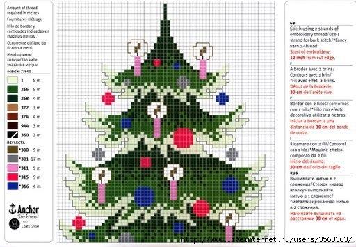 Схема вышивки новогодней елки фото 846