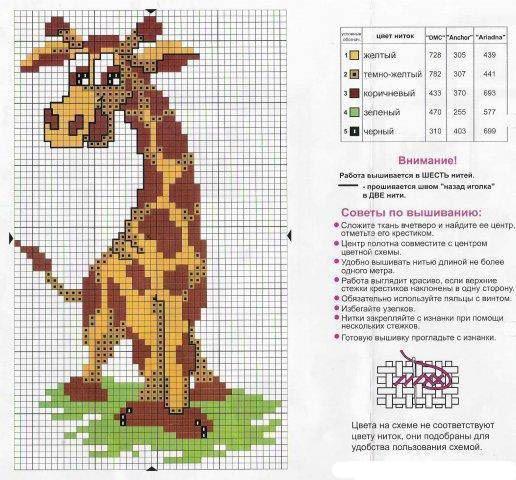 А это схема вышивки жирафа для