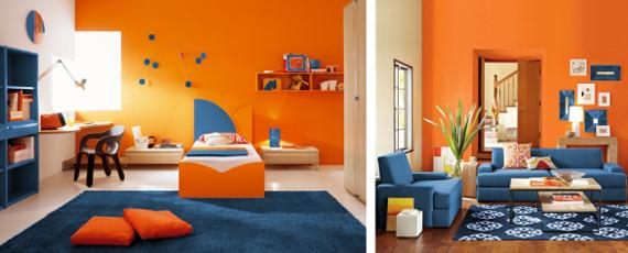 Какие цвета в интерьере сочетаются с оранжевым в интерьере