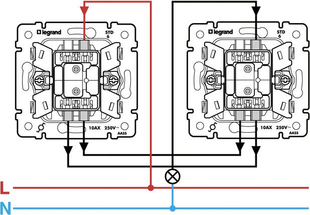 Схема подключения проходного выключателя.  Shema-prohodnogo- В Таганроге можно найти проходные выключатели Legrand.