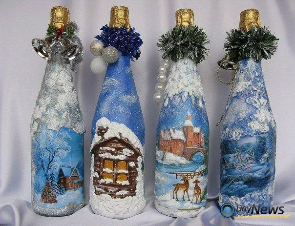 Как украсить бутылку шампанского своими руками салфетками